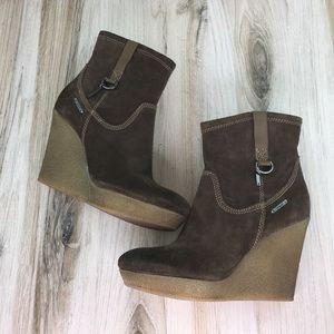 Diesel Brown Wedge Boots